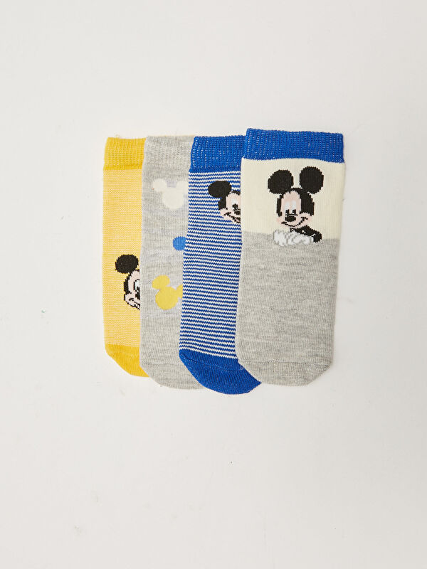 Mickey Mouse Baskılı Erkek Bebek Soket Çorap 4'lü - LC WAIKIKI