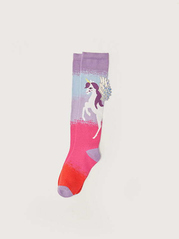 Desenli Kız Çocuk Diz Altı Çorap - LC WAIKIKI