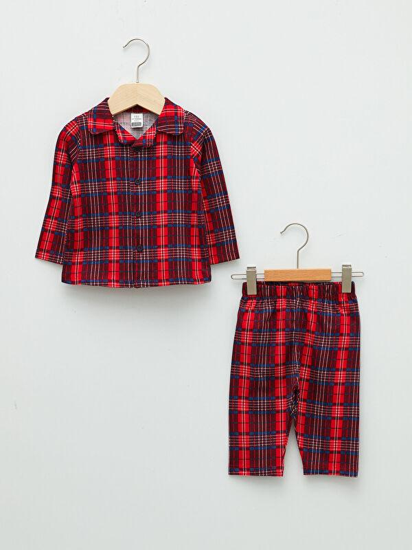 Polo Yaka Uzun Kollu Pamuklu Erkek Bebek Pijama Takımı - LC WAIKIKI