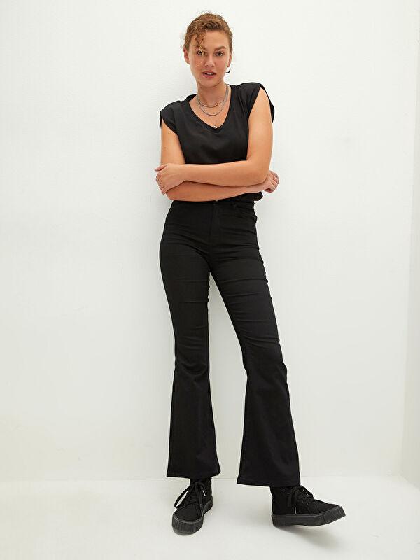 LCW CASUAL Normal Bel Dar Fit İspanyol Paça Kadın Pantolon - LC WAIKIKI