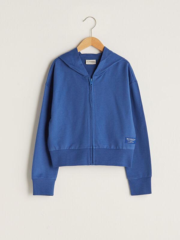 Kapüşonlu Basic Uzun Kollu Kız Çocuk Fermuarlı Sweatshirt - LC WAIKIKI