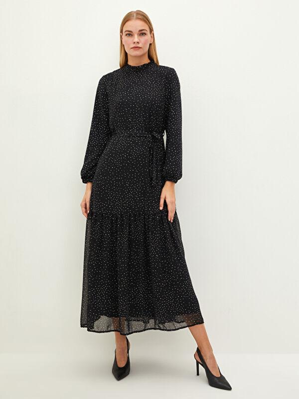 MODEST Fırfırlı Yaka Puantiyeli Uzun Kollu Şifon Kumaş Kadın Elbise - LC WAIKIKI