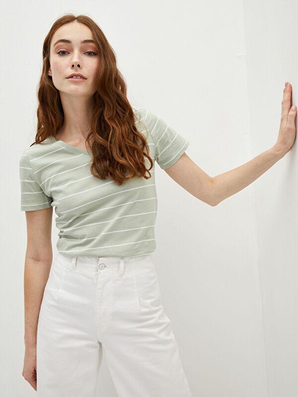 LCW BASIC V Yaka Kısa Kollu Çizgili Pamuklu Kadın Tişört - LC WAIKIKI