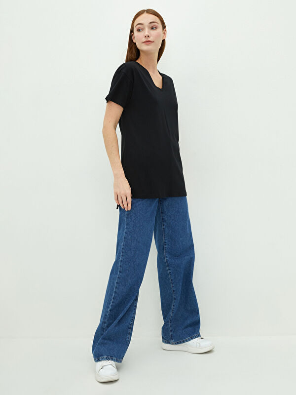 LCW BASIC V  Yaka Düz Kısa Kollu Pamuklu Kadın Tişört - LC WAIKIKI
