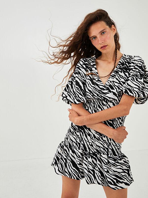 XSIDE V Yaka Desenli Kadın Elbise - XSIDE