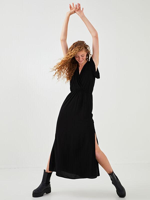 XSIDE Kruvaze Yaka Düz Fırfır Detaylı Viskon Kadın Elbise - XSIDE