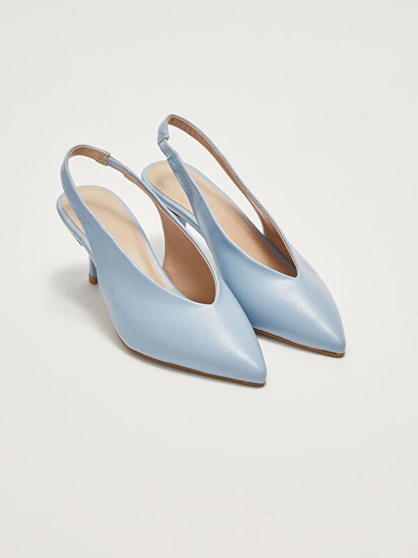 Deri Görünümlü Sivri Burun Kadın Topuklu Ayakkabı - LC WAIKIKI