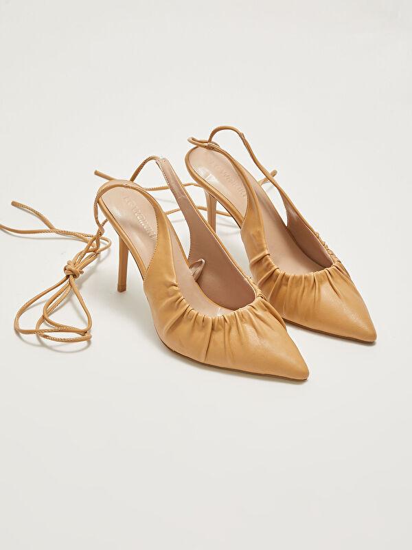 Deri Görünümlü Bağlamalı Kadın Topuklu Ayakkabı - LC WAIKIKI