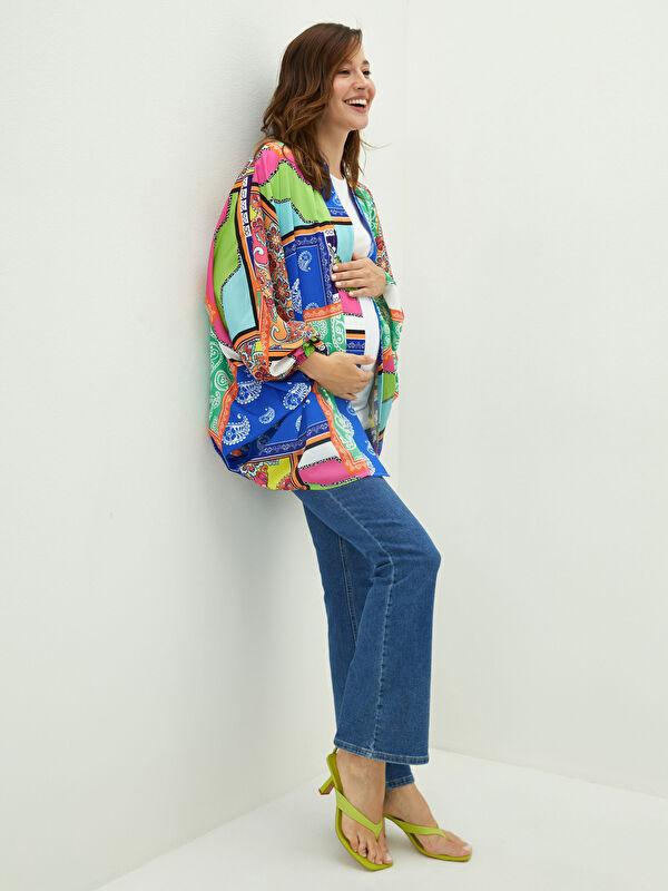 V Yaka Desenli Uzun Kollu Hamile Kimono - LC WAIKIKI