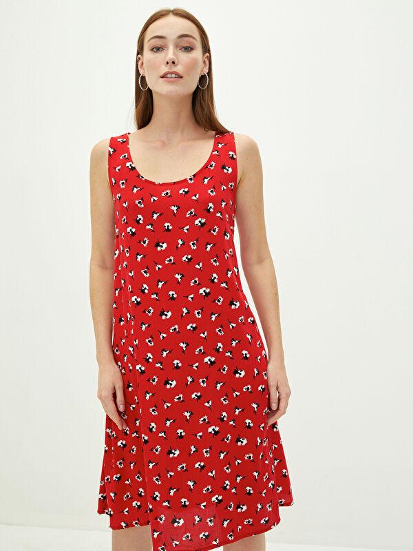 LCW CLASSIC U Yaka Çiçekli Askılı A Kesim Viskon Kadın Elbise - LC WAIKIKI