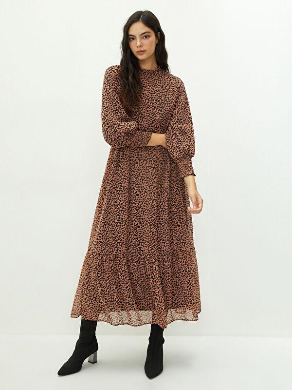 MODEST Fırfırlı Dik Yaka Desenli Uzun Kollu Kadın Elbise - LC WAIKIKI