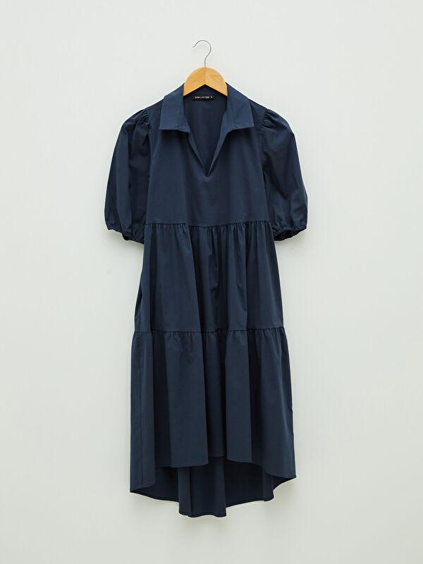 LCW LIMITED Gömlek Yaka Düz Kısa Kollu Kadın Elbise - LC WAIKIKI