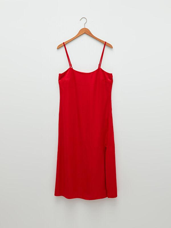 LCW VISION U Yaka Düz Askılı Saten Kadın Elbise - LC WAIKIKI