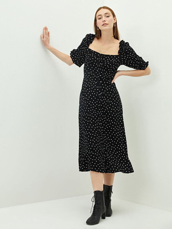 LCW VISION Kare Yaka Desenli Viskon Kadın Elbise - LC WAIKIKI