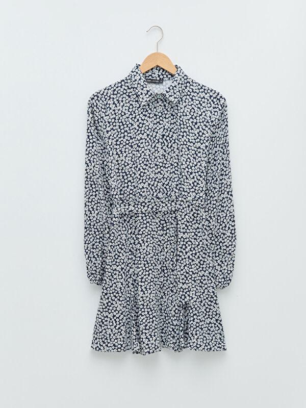 LCW LIMITED Gömlek Yaka Çiçekli Beli Kuşaklı Viskon Kadın Elbise - LC WAIKIKI