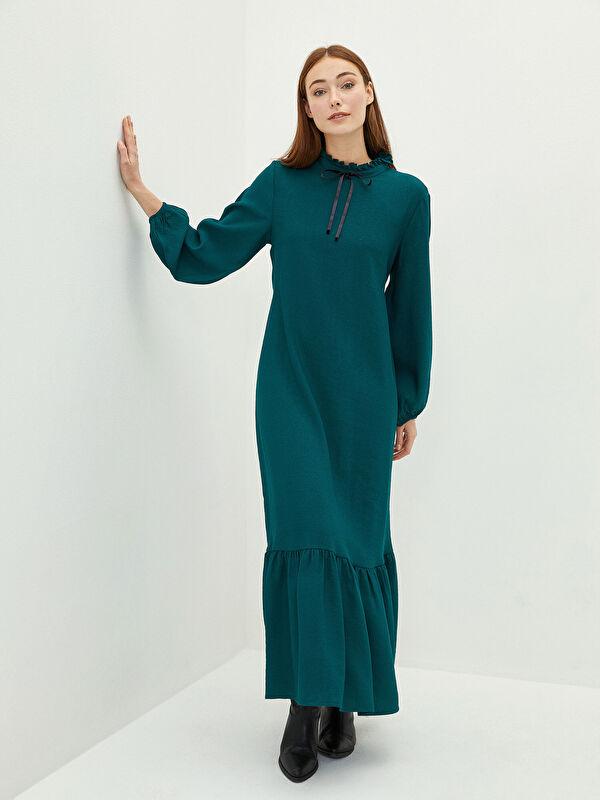 MODEST Fırfırlı Dik Yaka Düz Uzun Kollu Kadın Elbise - LC WAIKIKI