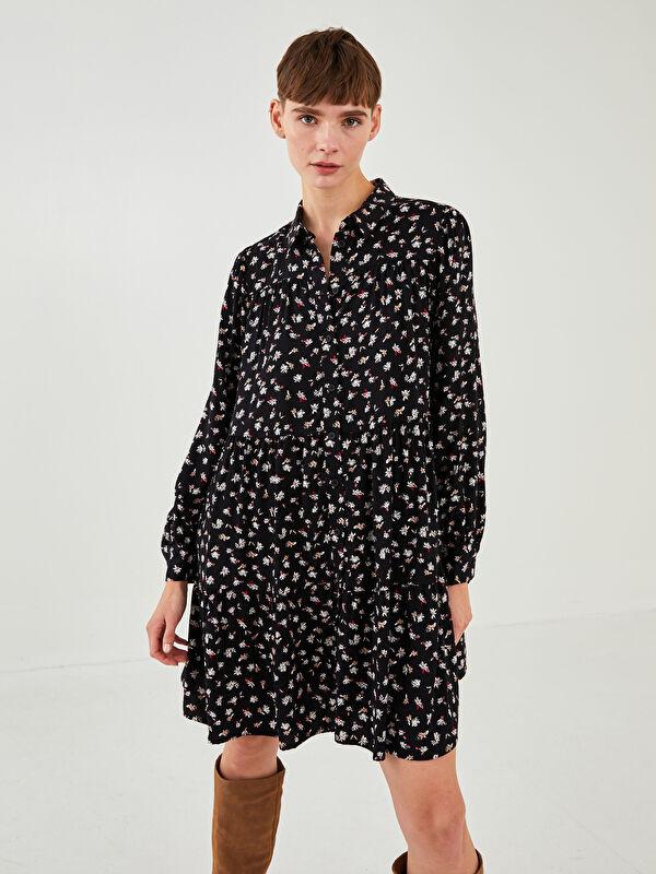 LCW VISION Gömlek Yaka Desenli Uzun Kollu Belmando Kumaş Kadın Elbise - LC WAIKIKI