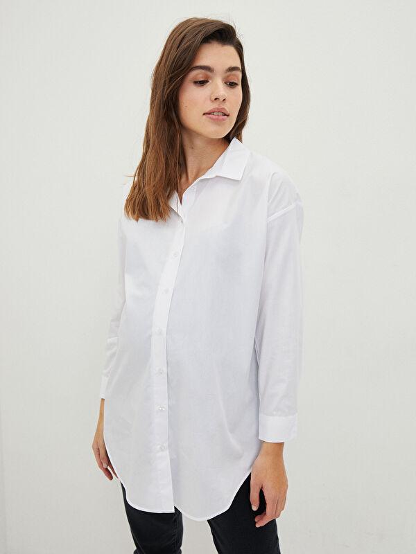 Gömlek Yaka Düz Uzun Kollu Hamile Tunik - LC WAIKIKI