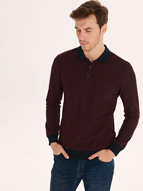 Polo Yaka Uzun Kollu Pike Erkek Sweatshirt - LC WAIKIKI