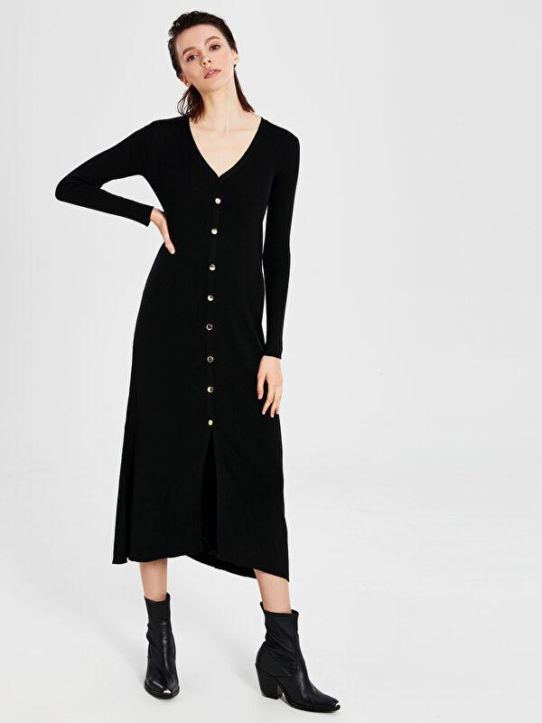 V Yaka Düğme Kapamalı Uzun Kollu Kadın Elbise - LC WAIKIKI