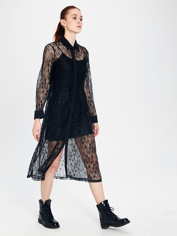 Dantel Detaylı Uzun Kollu Kadın Elbise - LC WAIKIKI