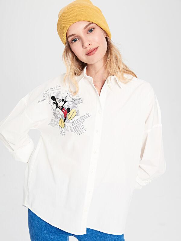 Mickey Mouse Baskılı Pamuklu Gömlek - LC WAIKIKI