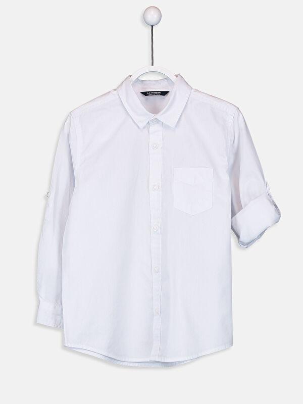 Basic Uzun Kollu Poplin Erkek Çocuk Gömlek - LC WAIKIKI