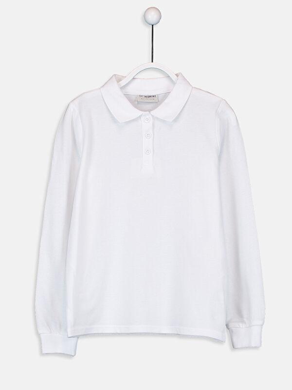 Polo Yaka Basic Uzun Kollu Kız Çocuk Tişört - LC WAIKIKI