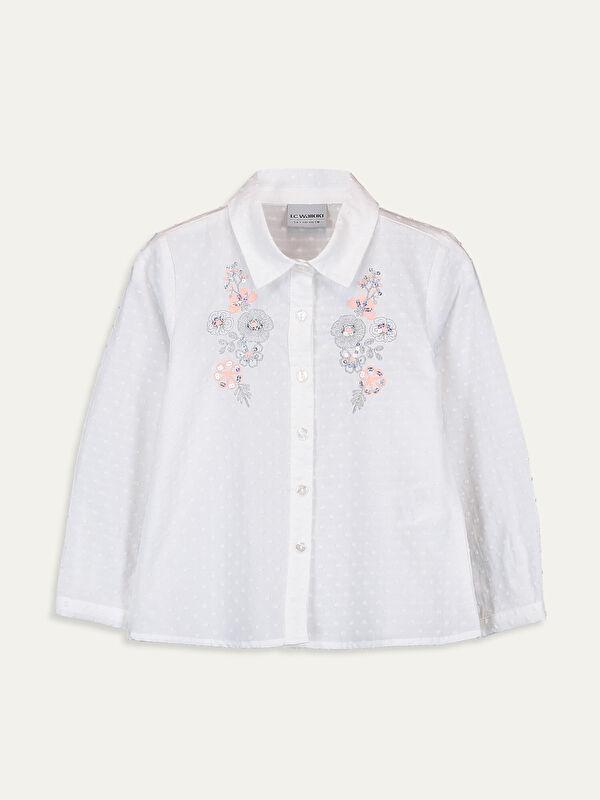 Kız Çocuk Nakışlı Pamuklu Gömlek - LC WAIKIKI