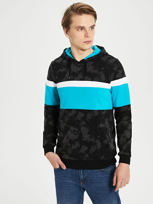 Kapüşonlu Uzun Kollu Renk Bloklu Erkek Sweatshirt - LC WAIKIKI