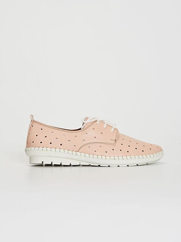 Bağcıklı Deri Görünümlü Kadın Klasik Ayakkabı - LC WAIKIKI