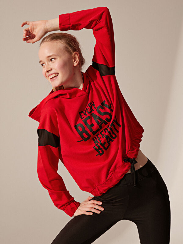 Yazı Baskılı Kapüşonlu Spor Sweatshirt - LC WAIKIKI