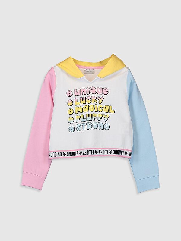 Kız Çocuk Yazı Baskılı Kapüşonlu Sweatshirt - LC WAIKIKI