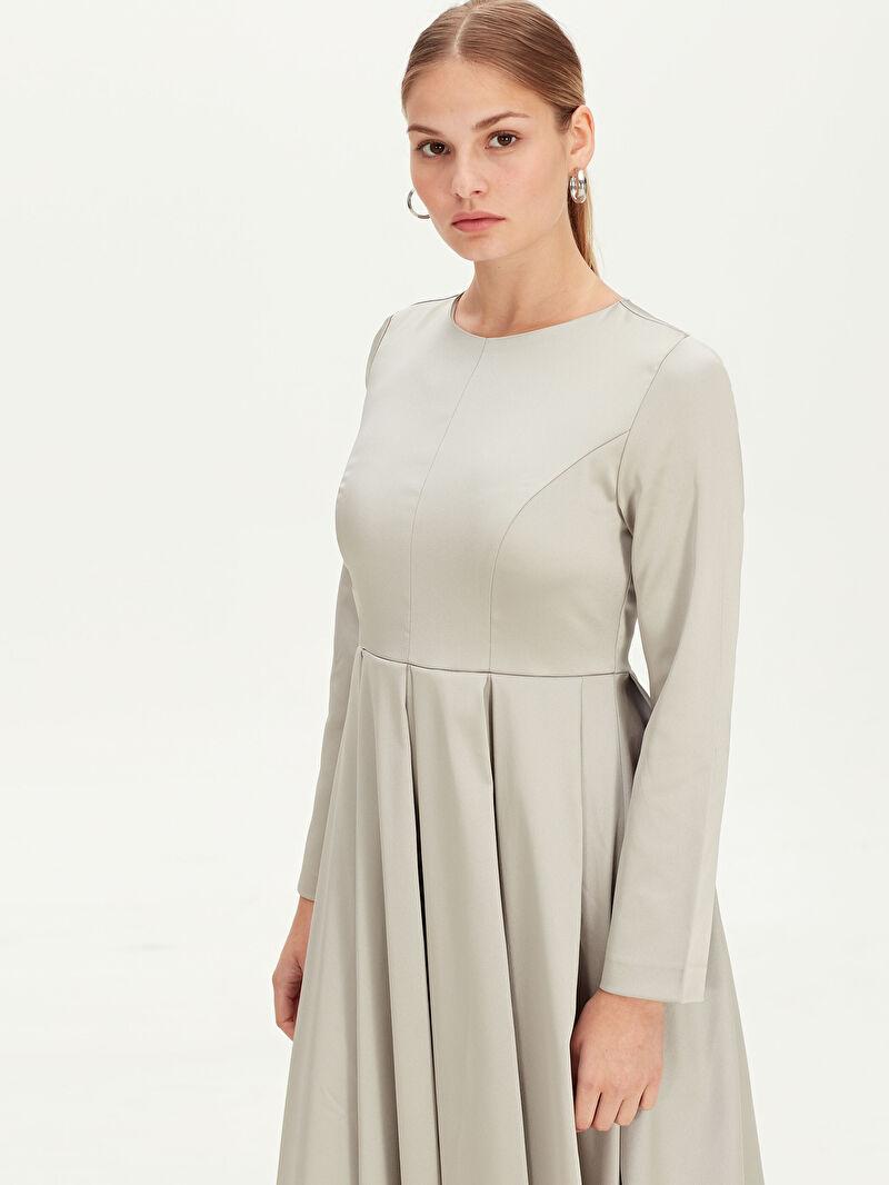 %100 Polyester  Uzun Kloş Abiye Elbise