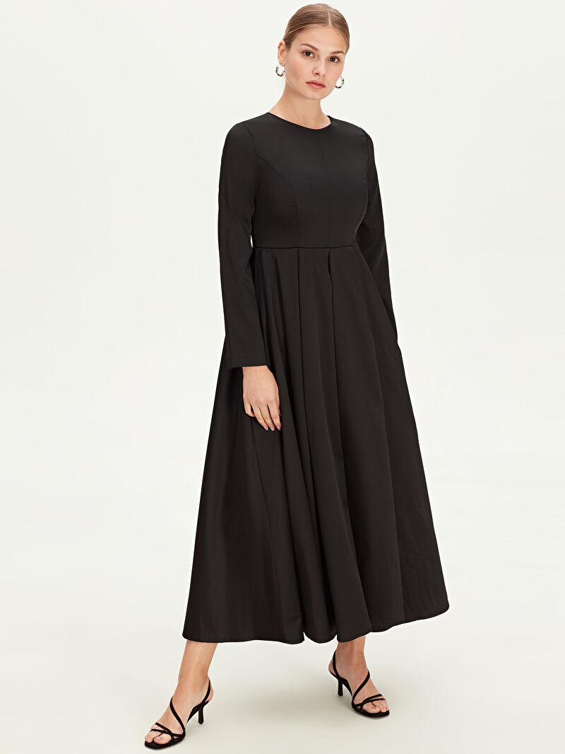 Siyah Uzun Kloş Abiye Elbise 9WM683Z8 LC Waikiki