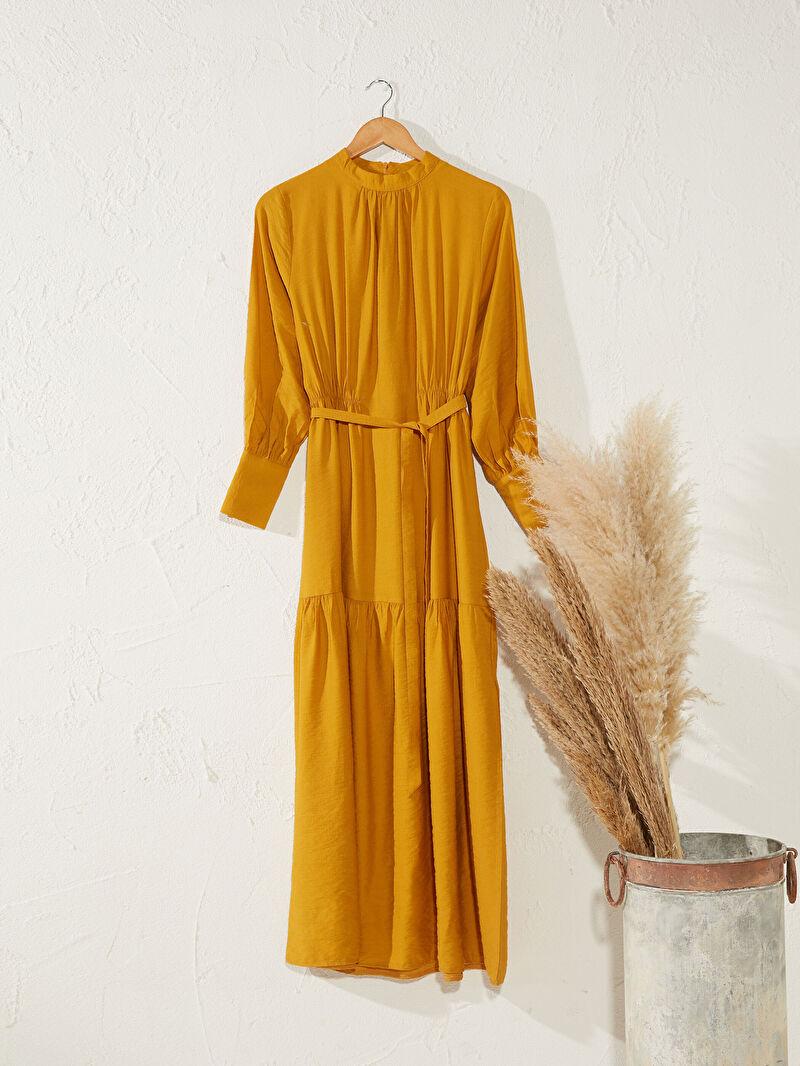 Sarı Beli Kuşaklı Uzun Düz Viskon Elbise 9WQ475Z8 LC Waikiki