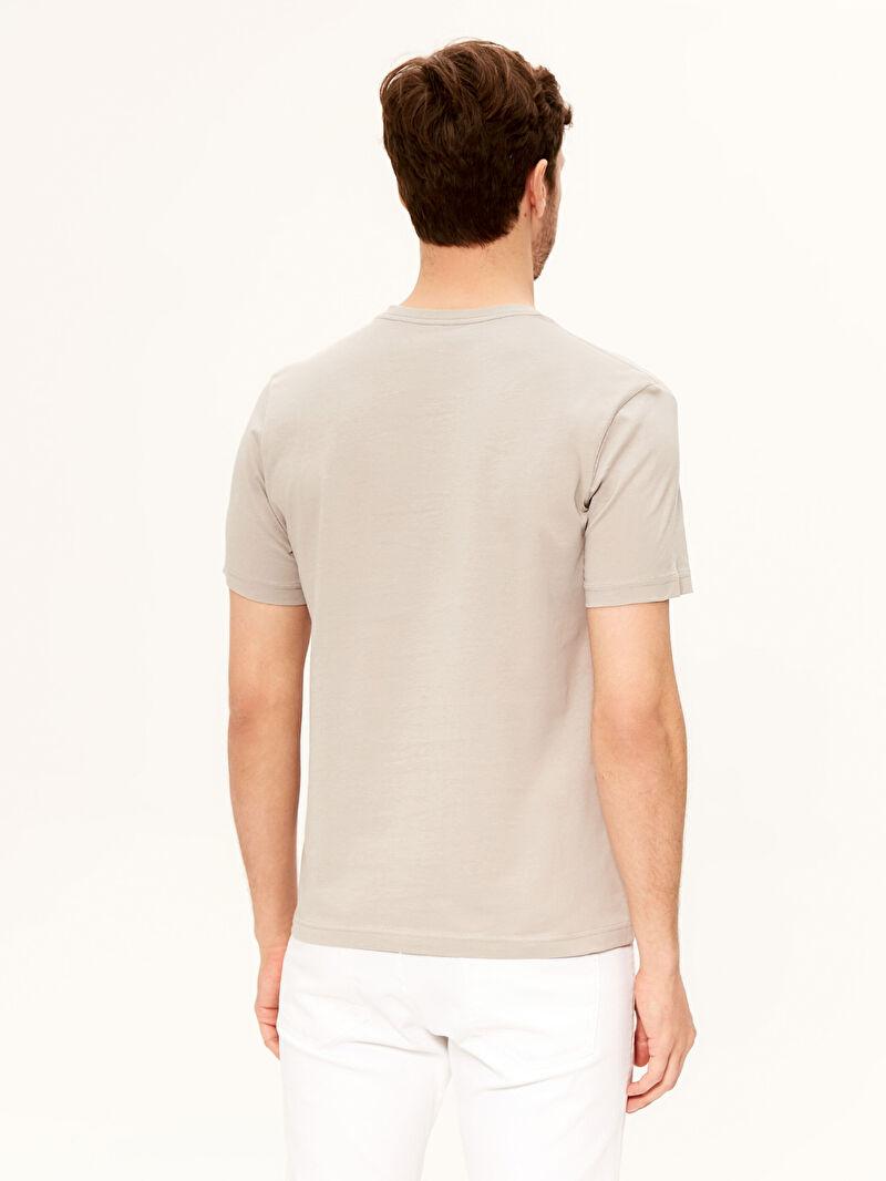 Erkek V Yaka Kısa Kollu Basic Pamuklu Erkek Tişört