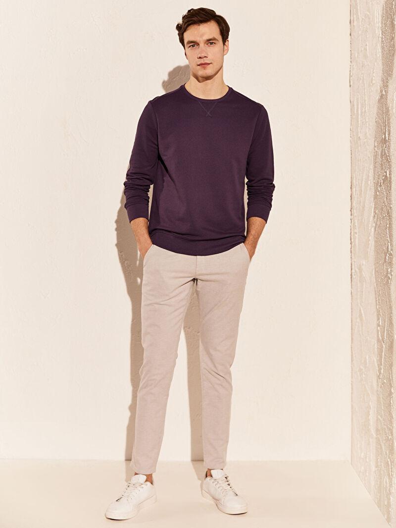 %52 Polyester %46 Pamuk %2 VİSKOZ  Bisiklet Yaka Basic Sweatshirt