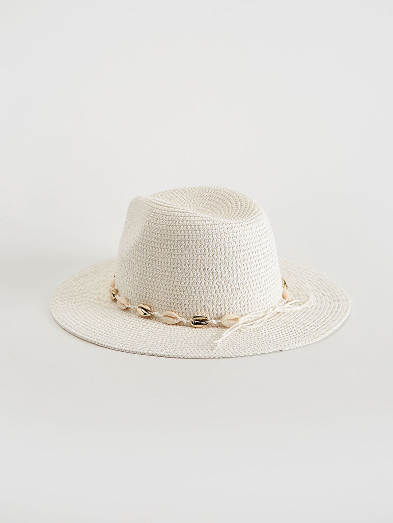 Beyaz Hasır Fötr Şapka 0S6875Z8 LC Waikiki