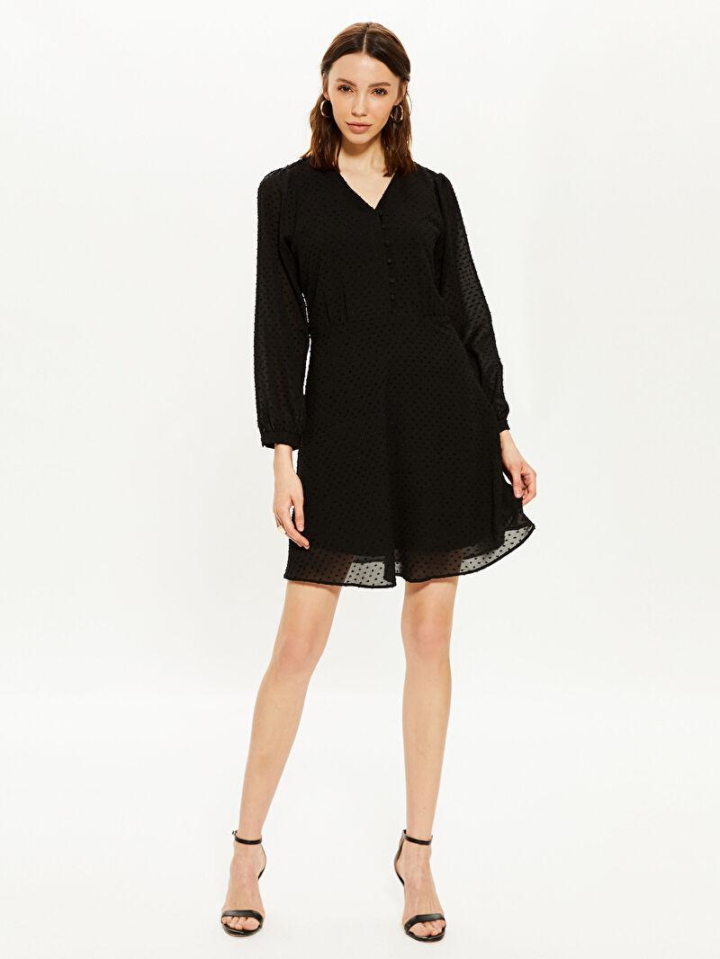 Siyah V Yaka Şifon Elbise 0SK582Z8 LC Waikiki