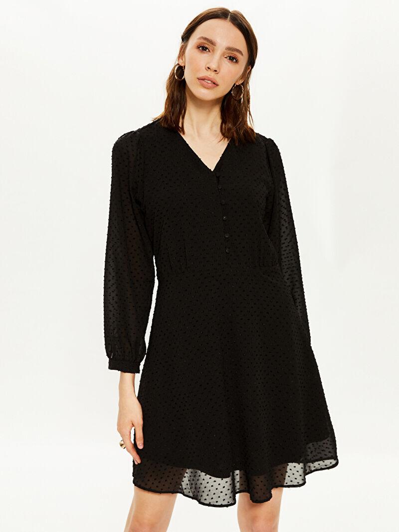 %100 Polyester  V Yaka Şifon Elbise