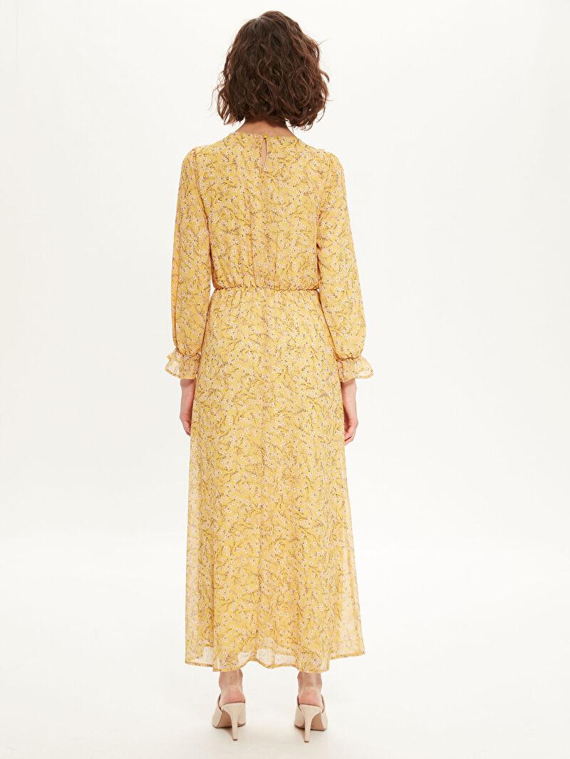Kadın Çiçek Desenli Uzun Şifon Elbise