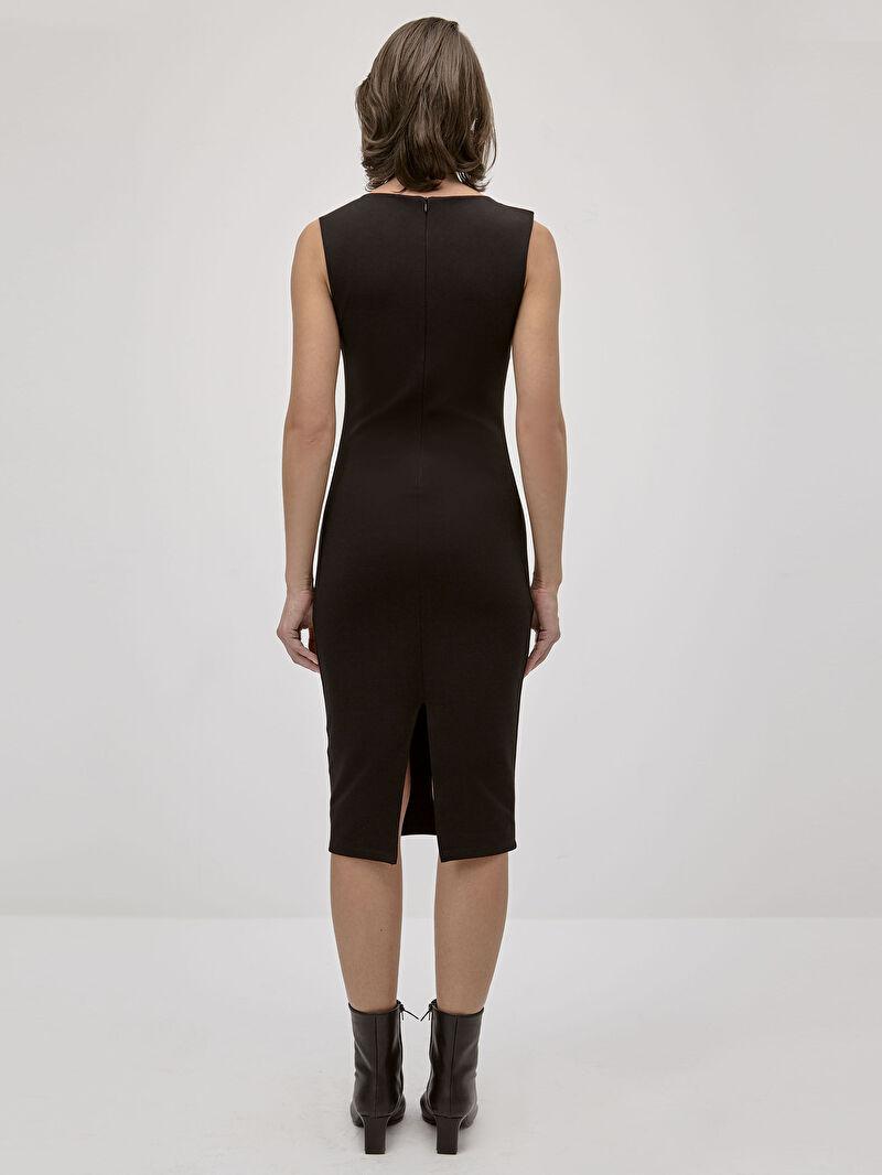 0SP466Z8 İncelten Etkili Kolsuz Dar Elbise