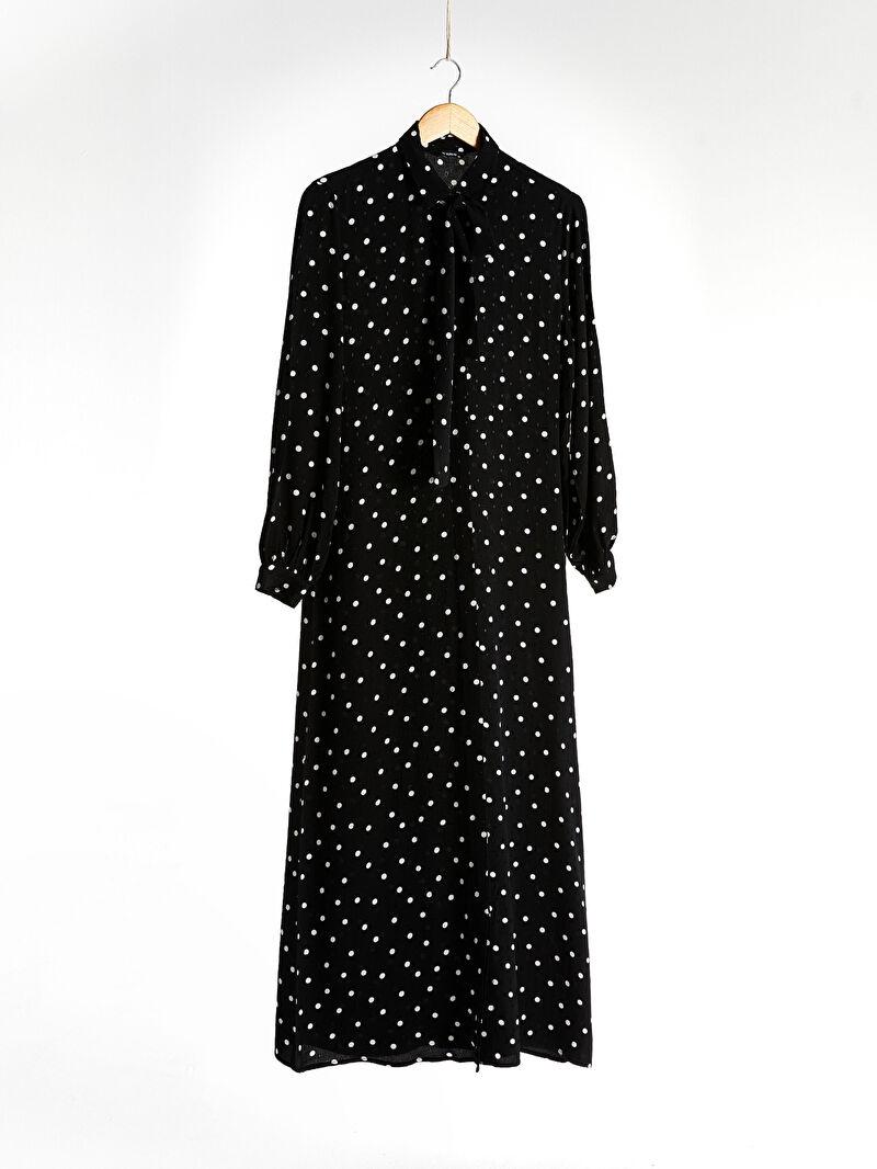 Siyah Puantiyeli Viskon Elbise 0ST597Z8 LC Waikiki
