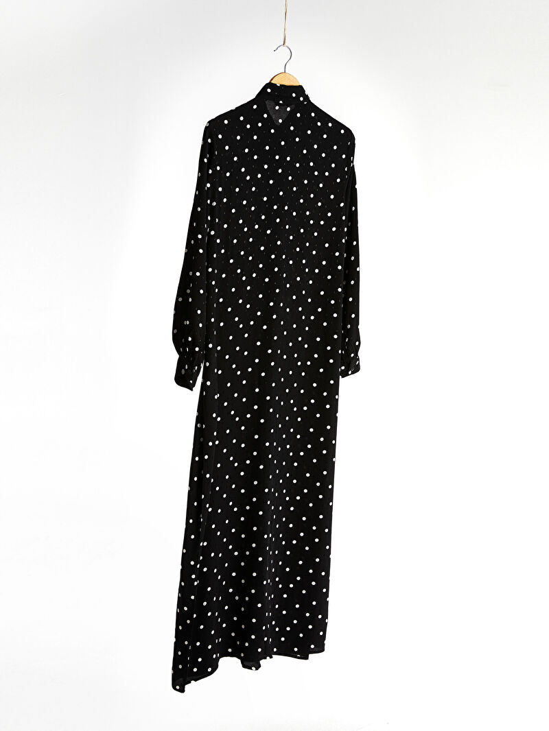 %100 VİSKOZ  Orta Kalınlık Poplin Elbise Ofis/Klasik Puantiye Uzun Kol Puantiyeli Viskon Elbise