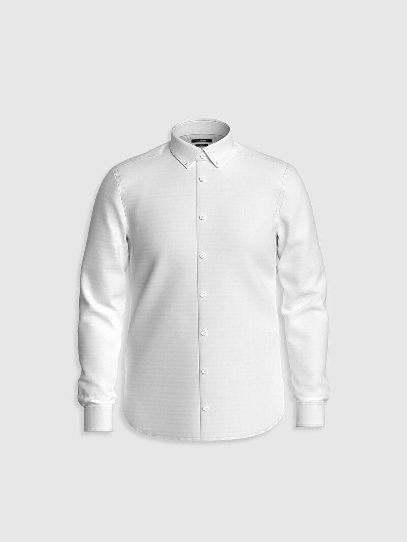 %53 Pamuk %47 Polyester  Dar Düğmeli Gömlek Yaka Düz Oxford Uzun Kol Gömlek Slim Fit Oxford Gömlek
