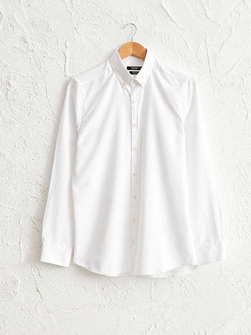 Beyaz Slim Fit Oxford Gömlek 0W0301Z8 LC Waikiki