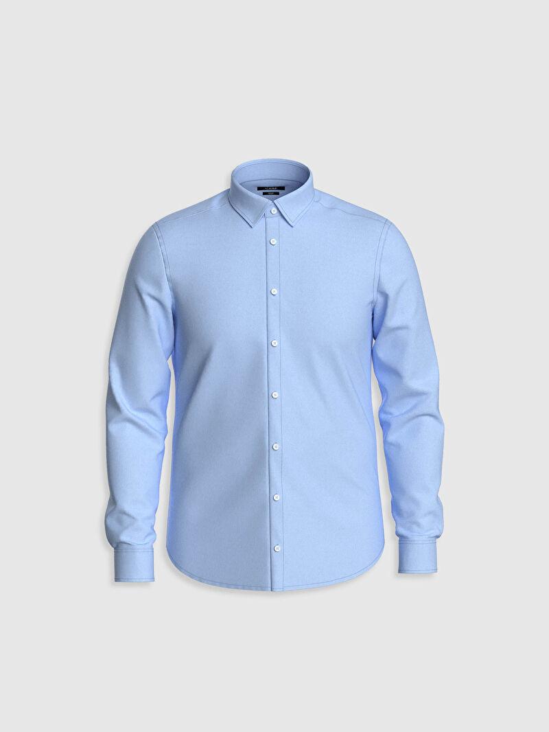 %52 Pamuk %43 Polyester %5 ELASTAN  Yüksek Pamuk İçerir Dar Oxford Uzun Kol Düz Gömlek Yaka Gömlek Slim Fit Oxford Gömlek