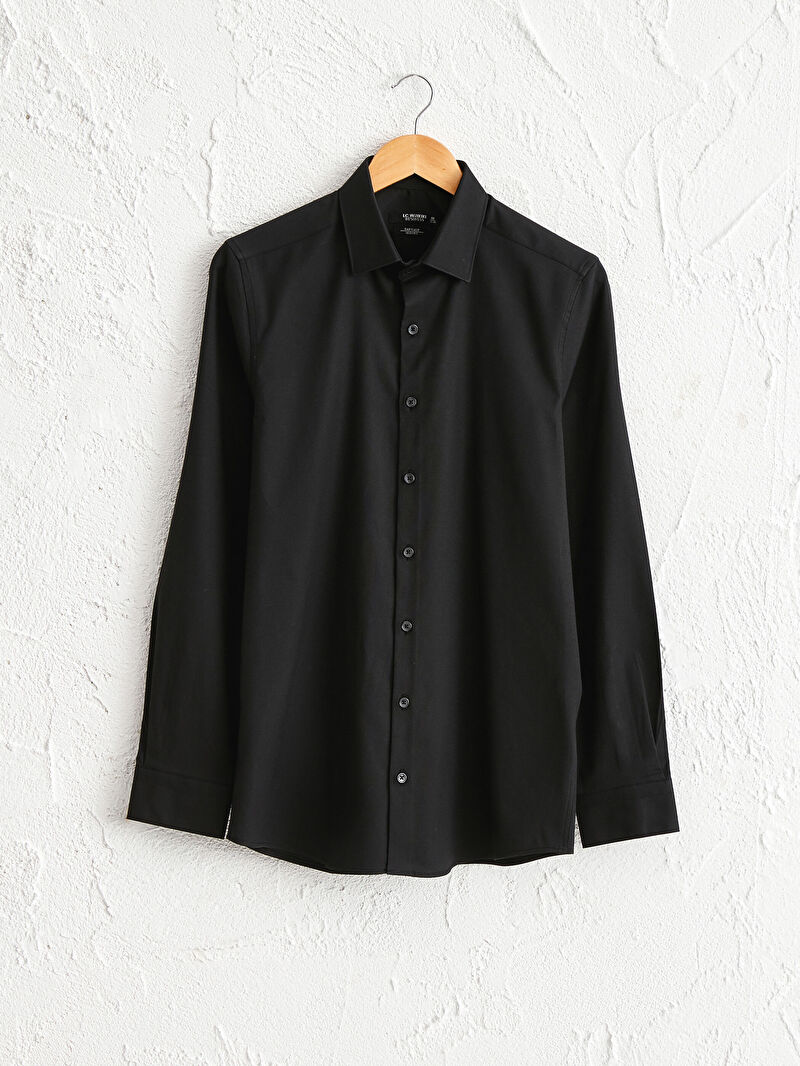 Siyah Slim Fit Oxford Gömlek 0W0302Z8 LC Waikiki