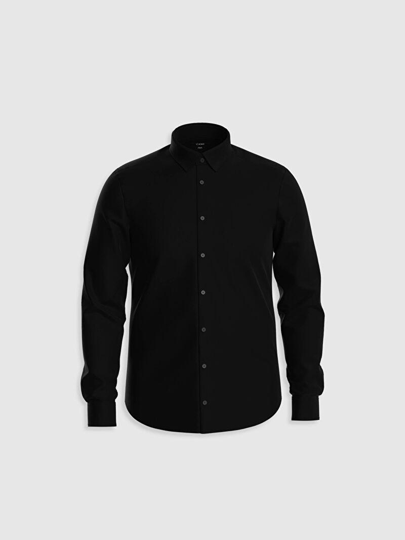 %51 Pamuk %45 Polyester %4 ELASTAN  Yüksek Pamuk İçerir Dar Oxford Uzun Kol Düz Gömlek Yaka Gömlek Slim Fit Oxford Gömlek
